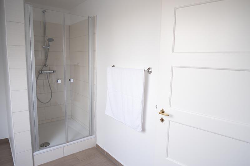 Dusche mit Glastür, Ferienwohnung Meyn